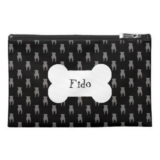 Grey Pug Silhouettes on Black Background Travel Accessory Bags