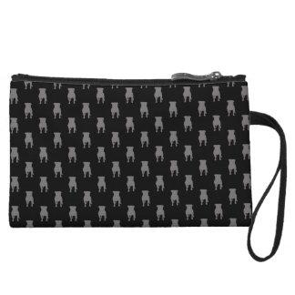 Grey Pug Silhouettes on Black Background Wristlet Wallet