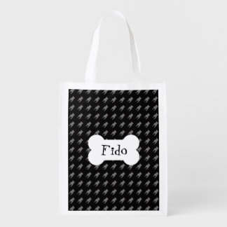 Grey Pug Silhouettes on Black Background Reusable Grocery Bags