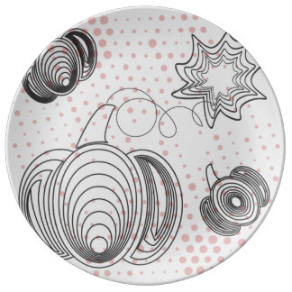 Grey pumpkins with pink retro halftones porcelain plate