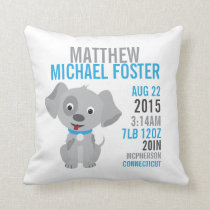 Grey Puppy Birth Announcement Nursery Pillow