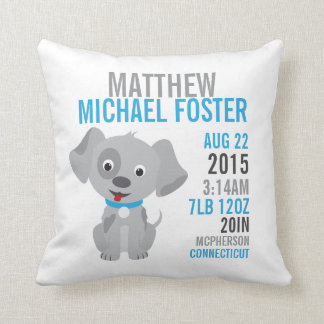 Grey Puppy Birth Announcement Nursery Pillow