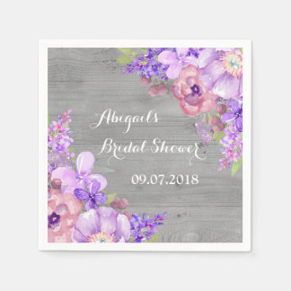 Grey Purle Lilac Floral Bridal Shower Napkins