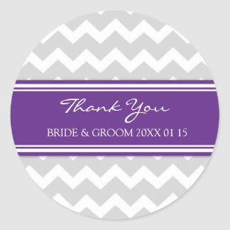 Grey Purple Chevron Thank You Wedding Favor Tags Classic Round Sticker