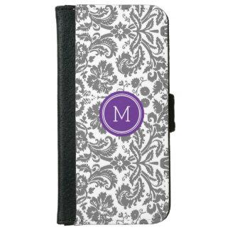 Grey Purple Damask Pattern Monogram Wallet Phone Case For iPhone 6/6s