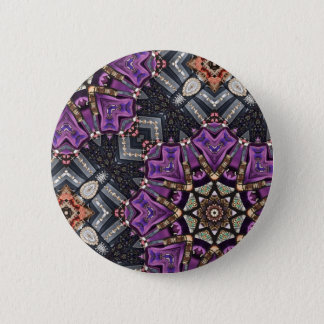 Grey purple fractal steampunk Kaleidoscope Button