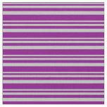 [ Thumbnail: Grey & Purple Lined Pattern Fabric ]