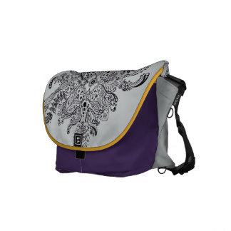Grey & Purple Messenger Bag with Henna Design