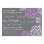 "Grey Purple Modern Floral Baby Shower Invitation 5"" X 7"" Invitation Card"