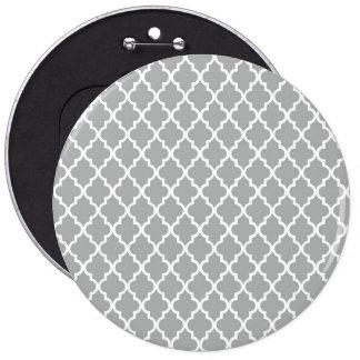 Grey Quatrefoil 6 Inch Round Button