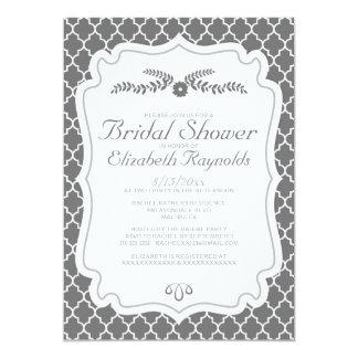 Grey Quatrefoil Bridal Shower Invitations Cards