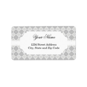 Grey Quatrefoil Pattern Custom Address Label