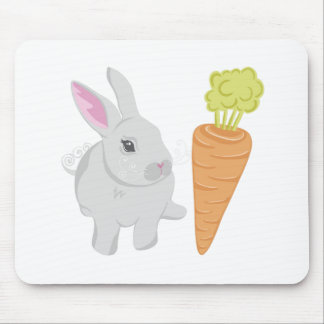 Grey Rabbit With Carrot Mousepads