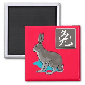Grey Rabbit with Chinese Calligraphy 2 Inch Square Magnet
