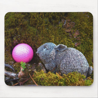 Grey Rabbit with Pink Golf Ball Mouse Pad