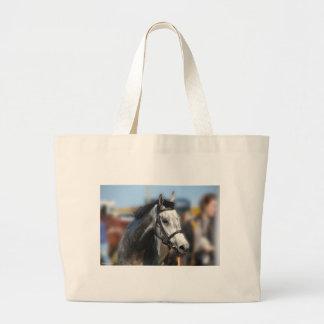 Grey Race Horse Racing Portrait , sports photo Jumbo Tote Bag