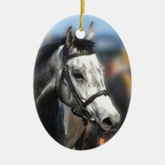 Grey race horse sports portrait ceramic ornament