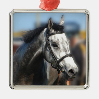 Grey race horse sports portrait metal ornament