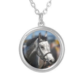 Grey race horse sports portrait silver plated necklace