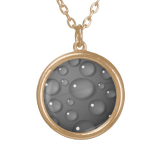 Grey Raindrop Background Gold Plated Necklace