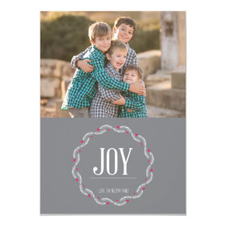 Grey red and white Joy Holiday Card