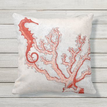 Beach Themed Grey Red Branch Coral Seahorse Ocean Beach Sea Art Outdoor Pillow