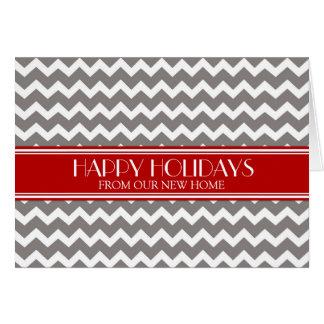 Grey Red Chevron Christmas New Address Cards