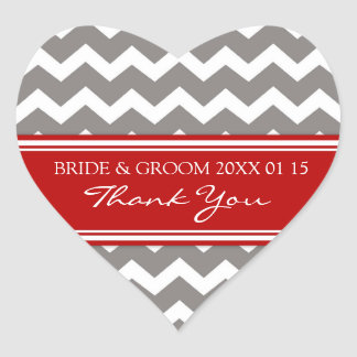 Grey Red Chevron Thank You Wedding Favor Tags Heart Sticker