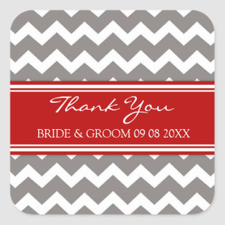 Grey Red Chevron Thank You Wedding Favor Tags Stickers
