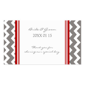 Grey Red Chevron Wedding Favor Tags Business Card Template