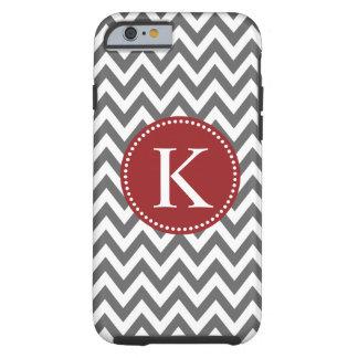 Grey Red Chevron Zigzag Monogram Pattern Tough iPhone 6 Case