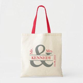 Grey Red Custom Newly Weds Wedding Favor Budget Tote Bag