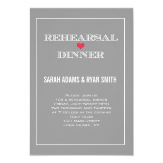 "Grey Red Heart Wedding Rehearsal Dinner Invites 3.5"" X 5"" Invitation Card"