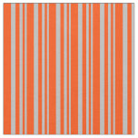 [ Thumbnail: Grey & Red Lines Pattern Fabric ]