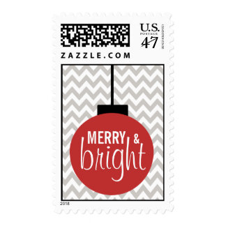 GREY RED Merry & Bright Chevron Holiday Postage