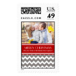 Grey Red Merry Christmas Custom Name Photo Stamps