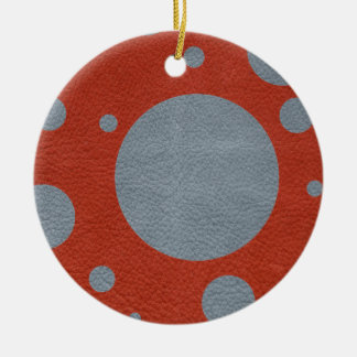 Grey & Red Scattered Spots in Leather print Ceramic Ornament