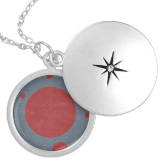 Grey & Red Scattered Spots in Leather print Locket Necklace