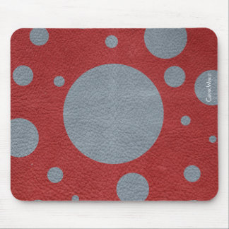 Grey & Red Scattered Spots in Leather print Mouse Pad