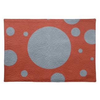 Grey & Red Scattered Spots in Leather print Placemat