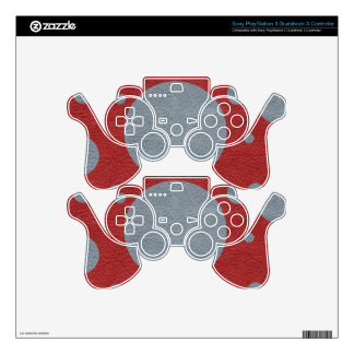 Grey & Red Scattered Spots in Leather print PS3 Controller Skin