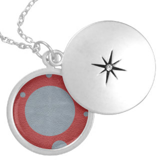 Grey & Red Scattered Spots in Leather print Silver Plated Necklace