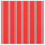 [ Thumbnail: Grey & Red Striped Pattern Fabric ]