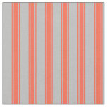 [ Thumbnail: Grey & Red Stripes/Lines Pattern Fabric ]