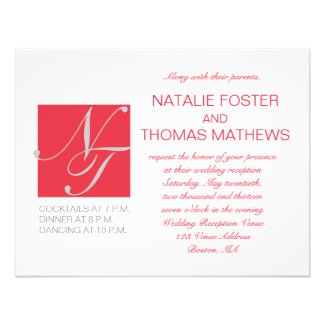 GREY RED WHITE INITIALS SIMPLE WEDDING RECEPTION PERSONALIZED INVITATION