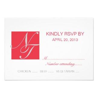 GREY RED WHITE INITIALS SIMPLE WEDDING RSVP INVITATION