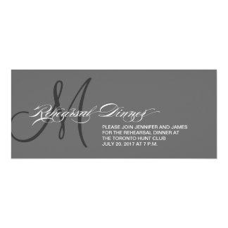 Grey Rehearsal Dinner Invitation Monogram