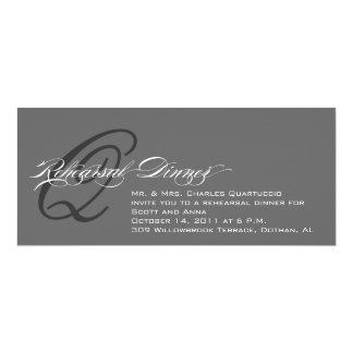 Grey Rehearsal Dinner Invitation Monogram Q