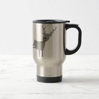 Grey Reindeer Illustration Travel Mug