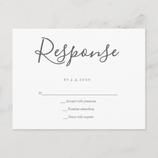 Grey response wedding rsvp postcards